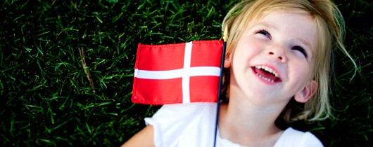Girl with Danish flag
