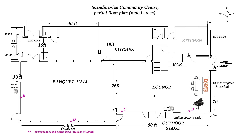 Scandinavian community centre facilities rental for Shop construction plans