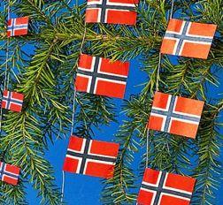 Norwegian flag on Christmas tree